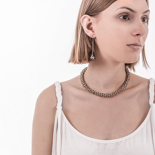 Onix woven gold necklace