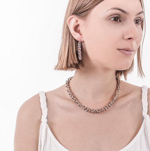 Lapislazuli woven gold necklace