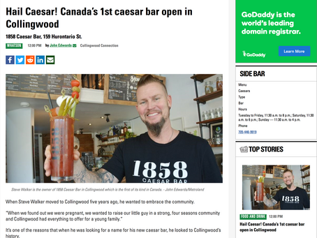 Hail Canada's First! 1858 Caesar Bar