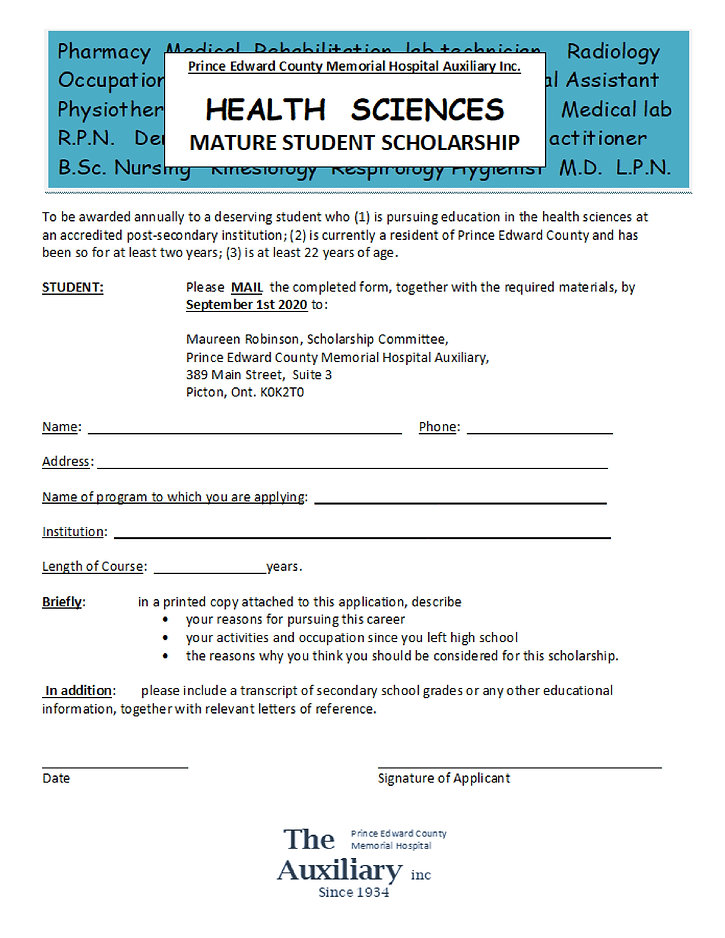 MATURE STUDENT SCHOLARSHIP APPLICATION F