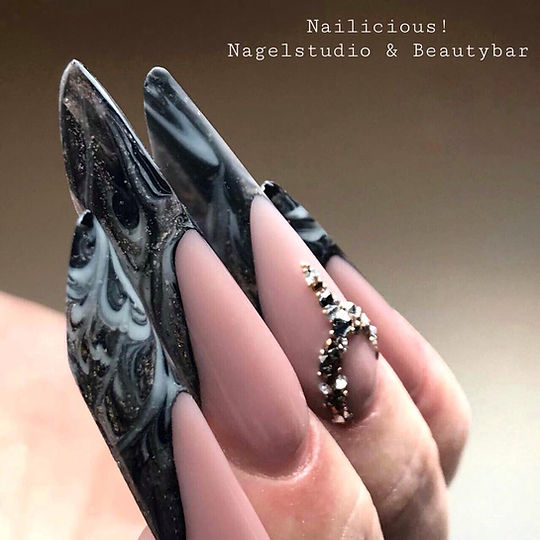 extreme gothic almond nails