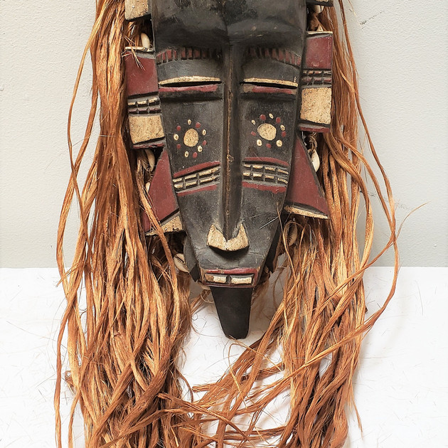 African Mask with Raffia