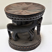 African Stool with Horses Kenya