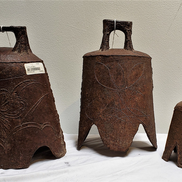 3 Antique Cast Metal Bells from China