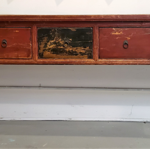 Chinese Altar Table with Drawers-Red and Green