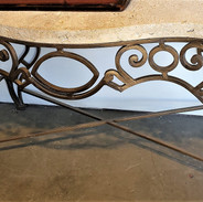 Forged Iron French Console with Fossil Top