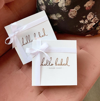 White & Rose Gold gift box