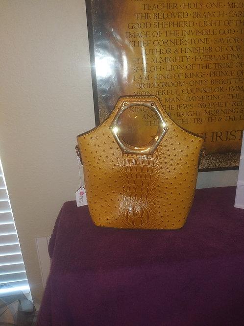Mustard Alligator / Ostrich Print Handbag