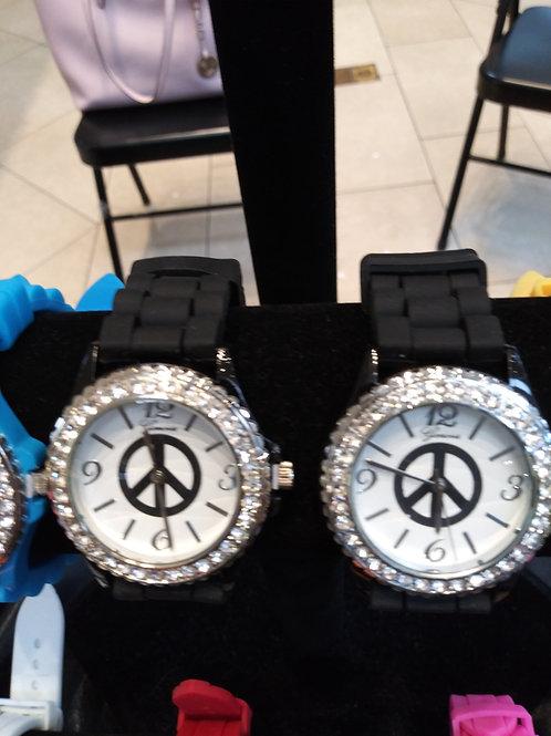 Rhinestone Studded Face Geneva Watch - Black Silicone Band