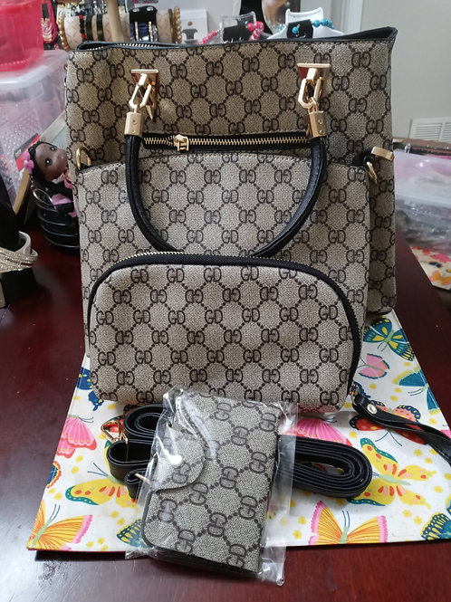 "Black 4-pc ""GD"" Pattern  Fashion Designer Handbag Set"