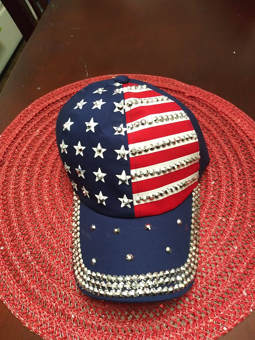 Blue White and Red Baseball Cap