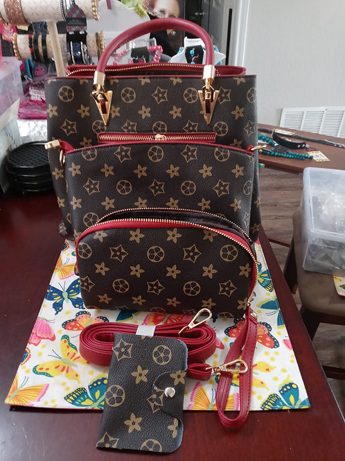 "Crimson Red 4-pc ""Flower"" Pattern  Ladies Fashion Designer Handbag Set"