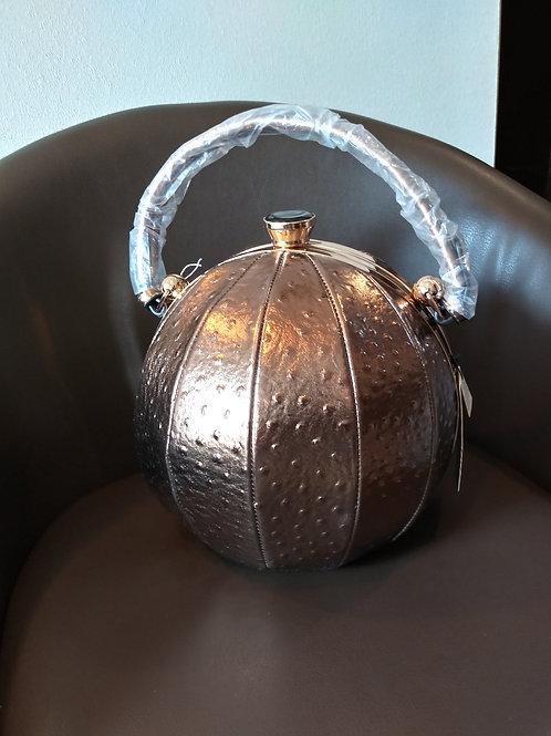 Designer Sphere Handbag - Gold Ostrich