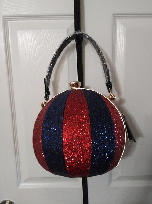 Red and Blue Glitter Sphere Handbag