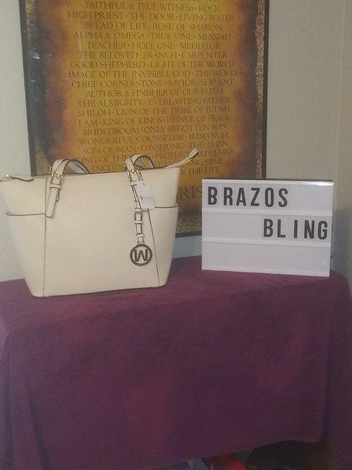 Designer Handbag - Pale Beige