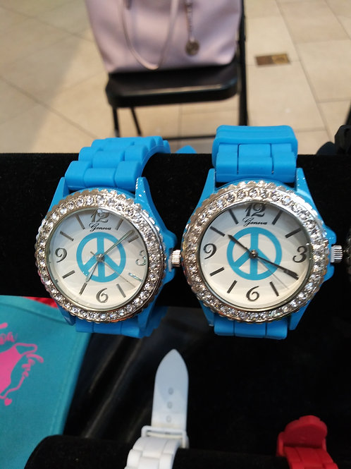 Rhinestone Studded Face Geneva Watch - Aqua Silicone Band