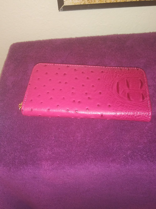 Dark Pink Ostrich Print Wallet