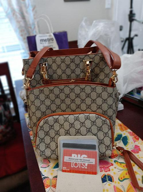 "Toffee ""GD"" Pattern Fashion Designer Handbag 4-pc  Set"