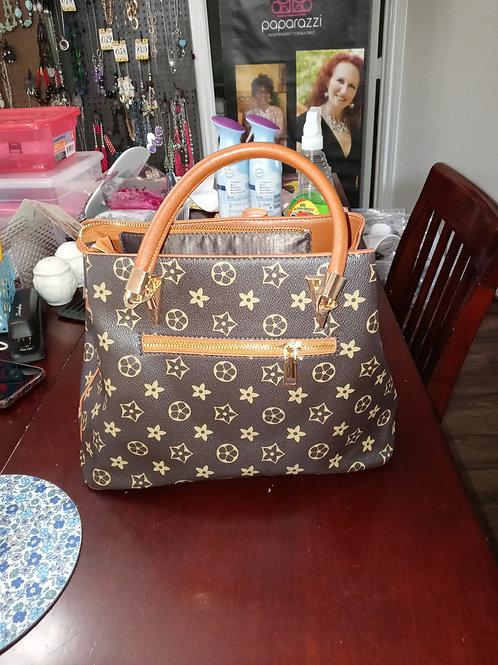 "Toffee ""Flower"" Pattern  Fashion Designer Handbag Set"