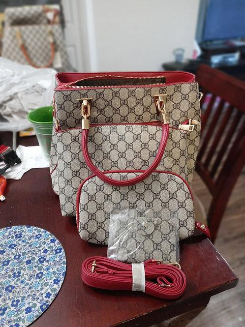 "Crimson Red 4-pc ""GD"" Pattern  Fashion Designer Handbag Set"