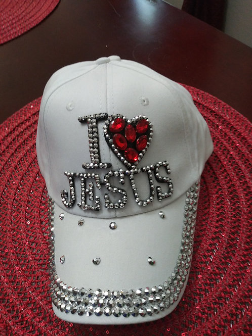 White I Love Jesus Hat