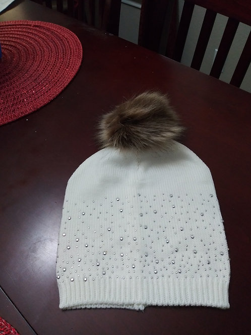 Bling-Bling White Pom Winter Beanie