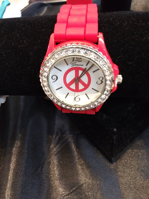 Rhinestone Studded Face Geneva Watch - Red Silicone Band