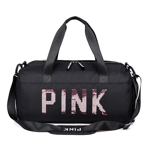 "Black Sequin ""Pink"" Duffel Bag"