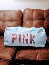 """Baby Blue Sequin """"Pink"""" Duffel Bag"""