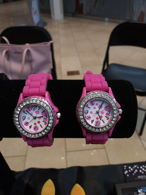 Rhinestone Studded Face Geneva Watch - Pink Silicone Band