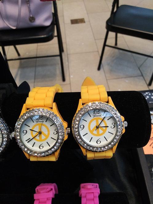 Rhinestone Studded Face Geneva Watch - Yellow Silicone Band