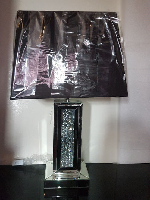 Stunning And Popular Black Astoria Table Lamp With A Floating Crystal Base  Design. The Lamp Comes With A 17 Inch Rectangular Black Shade, ...
