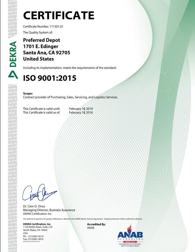 ISO Certificate Establishment U.S. Market