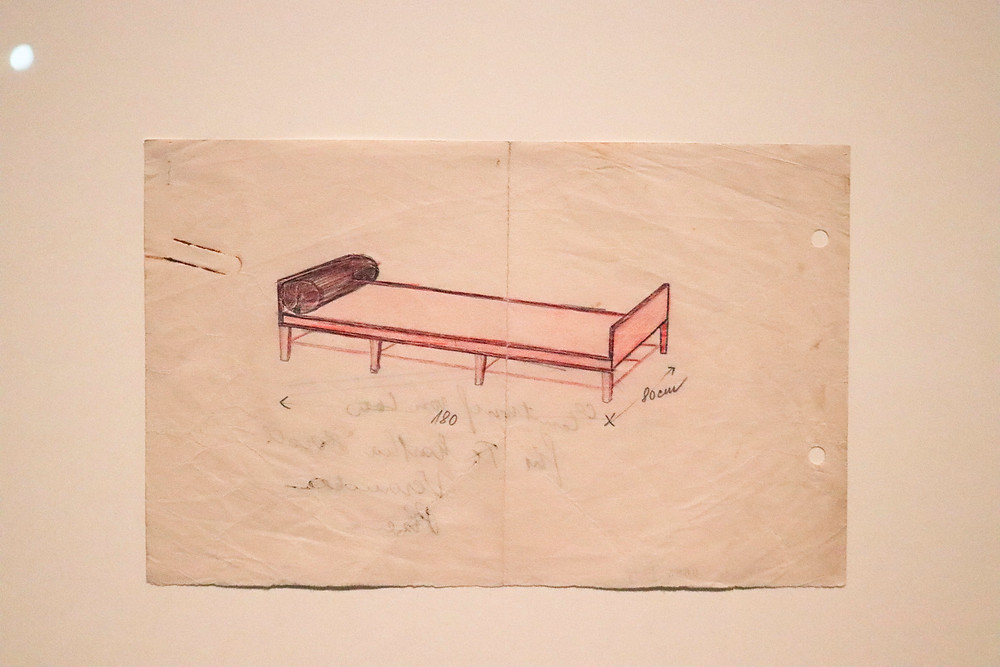 Croquis de diván por Adolf Loos.