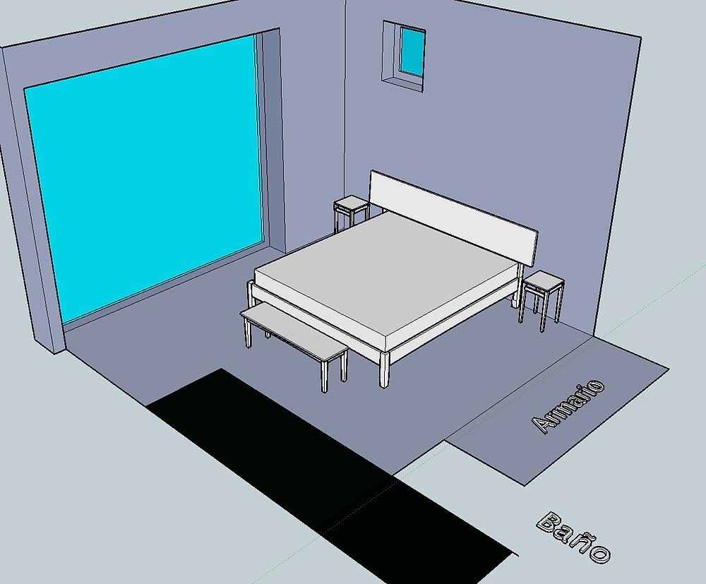3D model of a bedroom