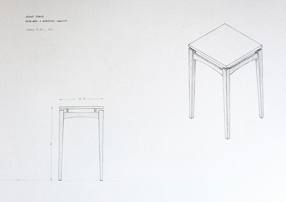Front elevation and perspective of a nightstand