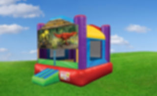 Wacky Bounce House wit Jurassic Banner