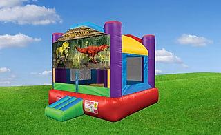 Wacky Bounce House wit Jurassic Banner