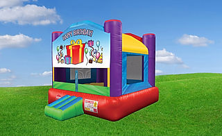 Wacky Bounce House with Birthday Banner