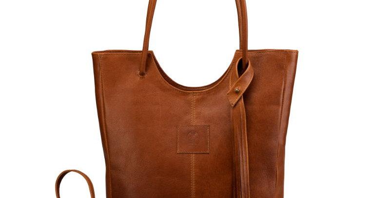Elegancka, szyta ręcznie, brązowa torebka na ramię z naturalnej skóry