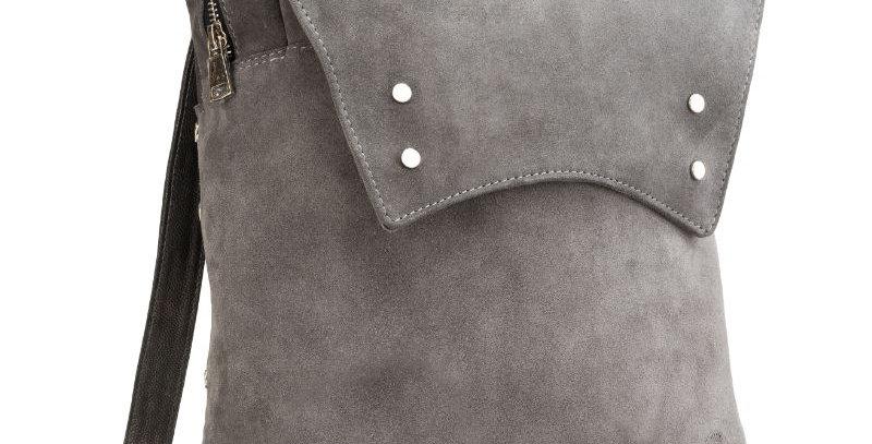 Plecak skórzany damski ręcznie uszyty z włoskiej skóry szary zamszowej