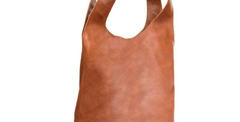 Ręcznie szyta brązowa miękka skórzana damska torba typu worek - na ramię