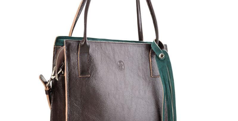 Duża, ręcznie szyta, brązowa skórzana torba damska na ramię (listonoszka)