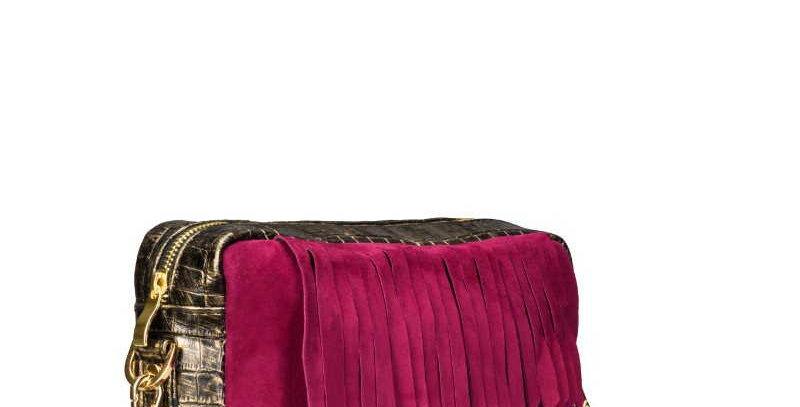 Skórzana, ręcznie szyta, złoto-bordowa damska torebka na ramię z frędzlami