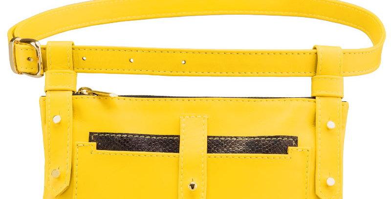 Skórzana damska torebka typu nerka z żółtej skóry