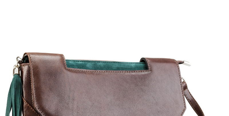 Kopertówka - ręcznie szyta torebka skórzana damska z zielonymi akcentami