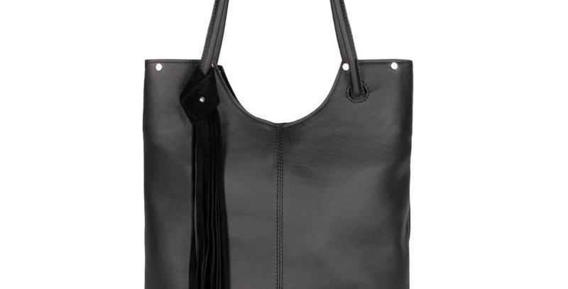Elegancka, szyta ręcznie, czarna torebka na ramię z naturalnej skóry + saszetka