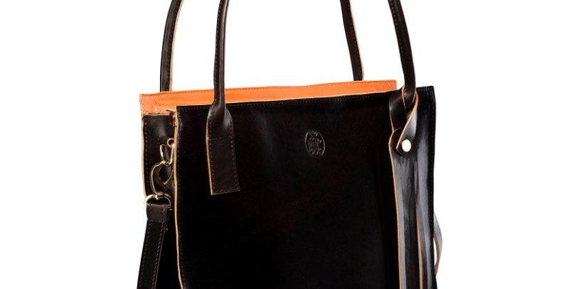 Duża, ręcznie szyta, brązowa torba damska na ramię (listonoszka)