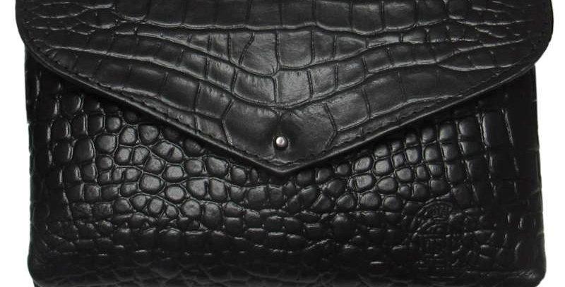 Damska torebka saszetka czarna ręcznie szyta polska projektantka