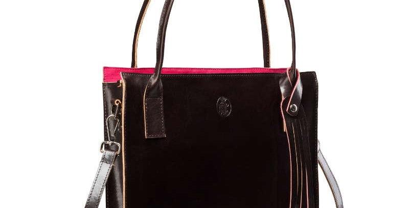 Duża, brązowa skórzana torba damska na ramię (listonoszka) z różowymi akcentami